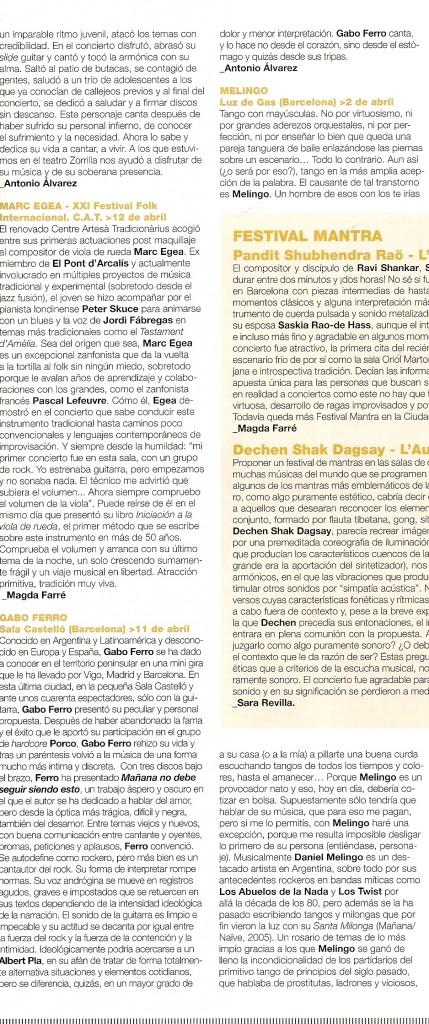 Abril 2008 Ritmos España critica recital