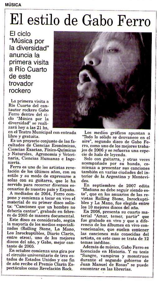 6may2009 Diario Puntal Rio Cuarto CBA